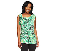 Susan Graver Printed Liquid Knit Sleeveless Top with Shoulder Detail - A233714