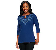 Quacker Factory Floral Lace Keyhole T-shirt - A234614