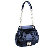B.Makowsky Devon Glazed Leather Flap Satchel w/ Chain - A236114