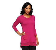 LOGO by Lori Goldstein 3/4 Sleeve Knit Top with Chiffon Trim - A237514