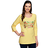 Quacker Factory Secret Garden Embroidered 3/4 Sleeve T-shirt - A240814