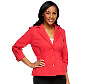 Joan Rivers Ponte Knit Signature Jacket with 3/4 Sleeves - A251614
