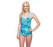 DreamShaper by Miraclesuit Caitlin Blue 1-Piece Halter Swimsuit - A253514