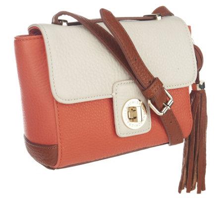 Isaac Mizrahi Live Bridgehampton Leather Color Block Bag —