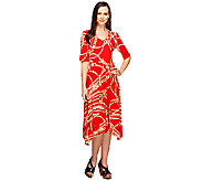 Nina Leonard Elbow Sleeve Knit Dress with Shark-Bite Hem - A255314