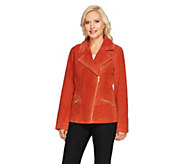 Dennis Basso Washable Suede Motorcycle Jacket - A256514