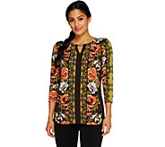 Susan Graver Printed Liquid Knit 3/4 Sleeve Top w/Keyhole - A258614