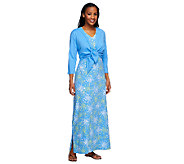 As Is Denim & Co. Perfect Jersey Printed Maxi Dress with Shrug - A258714