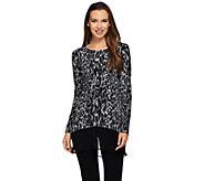 LOGO by Lori Goldstein Cotton Cashmere Animal Print Sweater - A258914