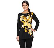 Susan Graver Placement Print Liquid Knit Long Sleeve Top w/ Bateau Neck - A261214