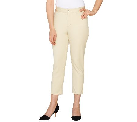 Denim & Co. Solid Twin Stretch Crop Pant
