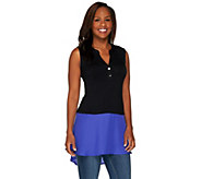 LOGO by Lori Goldstein Sleeveless Knit Henley Top with Chiffon Hem - A263314