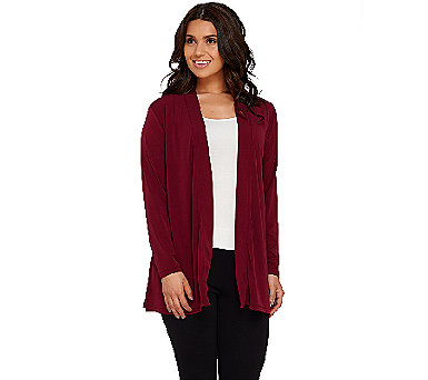 Susan Graver Liquid Knit Open Front Cardigan with Shirred Back - A269214