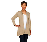As Is Susan Graver Melange Sweater Knit Open Front Cardigan - A269614