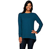 H by Halston French Terry Scoop Neck Long Sleeve Hi-Low Tunic - A270214