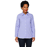 As Is Denim & Co. Light Weight Stretch Denim Shirt w/ Hi-Low Hem - A270414