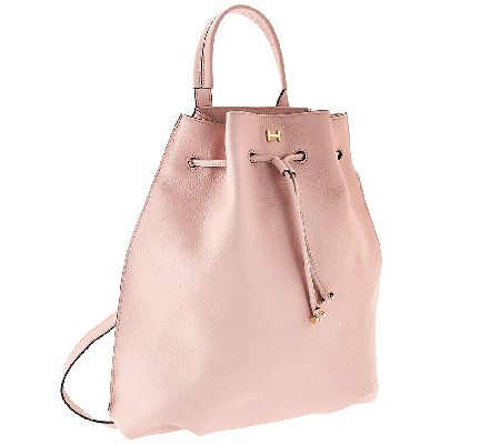 H by Halston Pebble Leather Drawstring Backpack