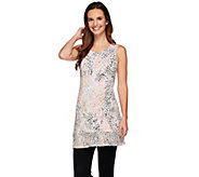 LOGO Layers by Lori Goldstein Printed Knit Top with Chiffon Trim - A274114