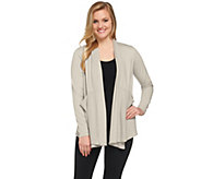 LOGO Lounge by Lori Goldstein French Terry Cardigan with Waffle Panels - A275014