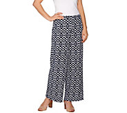 Susan Graver Printed Liquid Knit Comfort Waist Wide Leg Pants - Regular - A275214