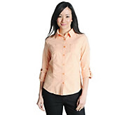 As Is Liz Claiborne New York Long Sleeve Roll-Tab Chambray Shirt - A276714