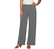 Susan Graver Petite Printed Liquid Knit Pull-On Wide Leg Pants - A277814