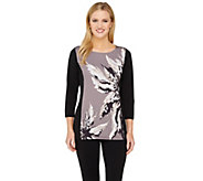 As Is Bob Mackies 3/4 Sleeve Monet Floral Printed Top - A277914