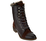 As Is Aimee Kestenberg Leather Lace-Up Faux Fur Boots - Leilani - A278514