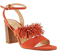 As Is C. Wonder Suede Block Heel Sandal w/Fringe Gabrielle - A286514