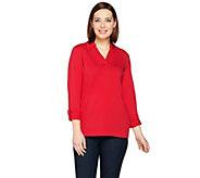 Susan Graver Weekend Stretch Cotton Modal Long Sleeve Top - A286714