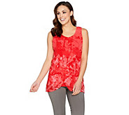 H by Halston Sleeveless Top with Watercolor Floral Print Chiffon Overlay - A287114