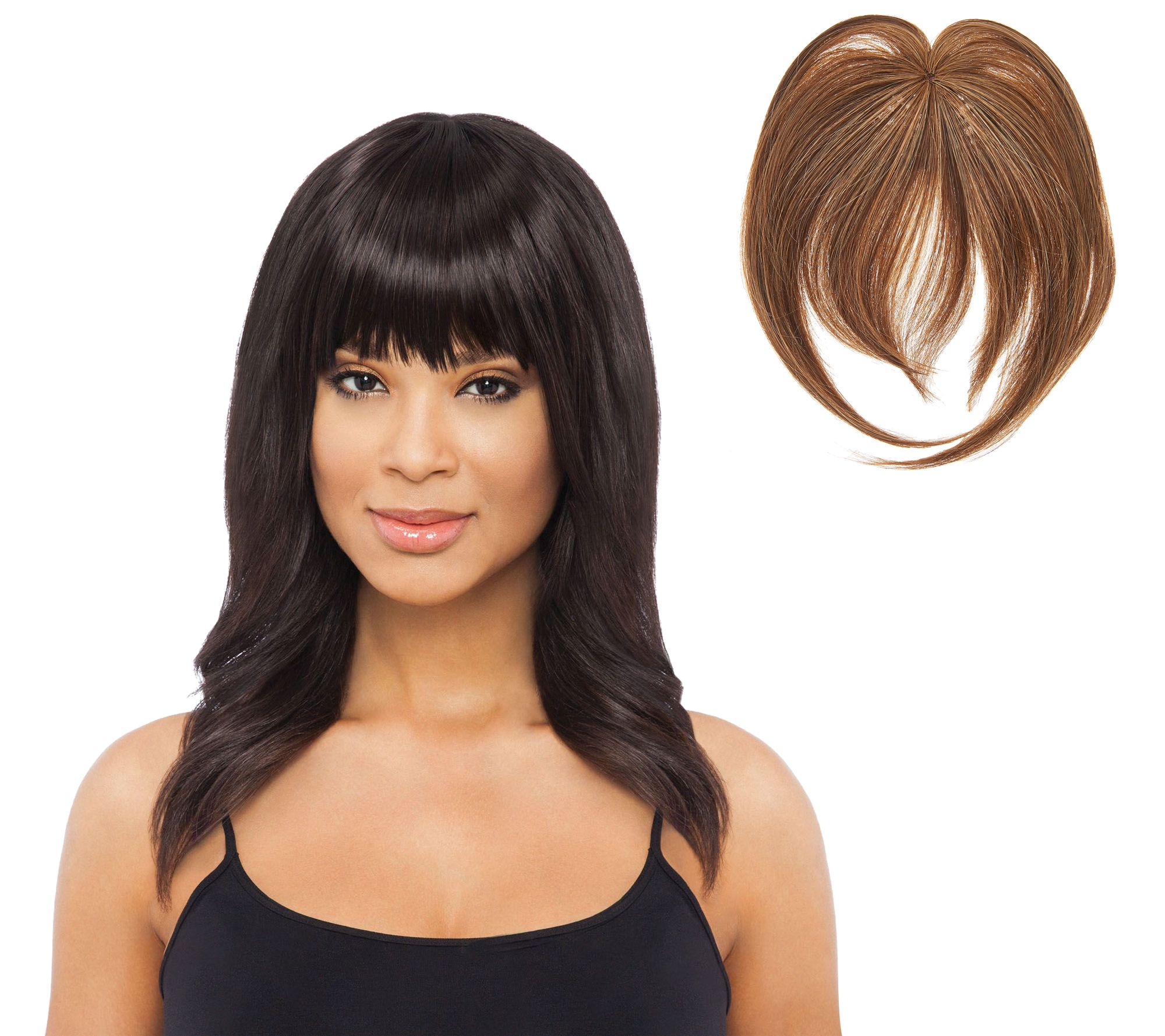 Luxhair by sherri shepherd clip in bangs page 1 qvc pmusecretfo Image collections