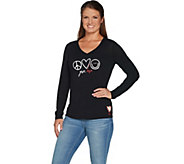 Peace Love World Give Love Knit Top w/ Novelty Artisan Patch - A299514