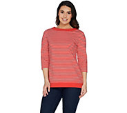 Denim & Co. Boat Neckline Striped 3/4 Sleeve Tunic w/ Solid Trim - A303114