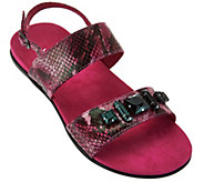 As Is Vionic Orthotic Leather Embellished Sandals-Dupre - A304814