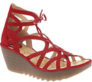 FLY London Leather Lace-Up Wedge Sandals - Yuke - A305114
