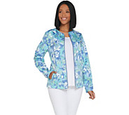 Denim & Co. Watercolor Print Stretch Twill Zip Front Jacket - A307114