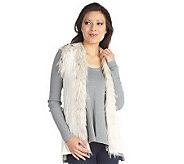 Luxe Rachel Zoe Cable Knit Sweater Vest with Faux Fur Trim - A210915