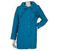 Dennis Basso Water Resistant Crinkle Sateen Jacket with Pleated Collar - A214215