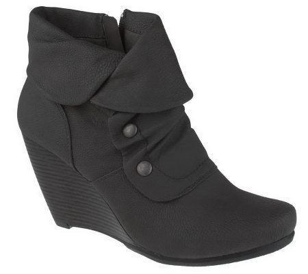 bare traps wedge ankle boots with ruching side zip qvc