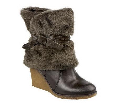 baretraps leather faux fur wedge boots w side zip