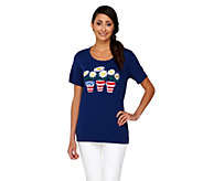 Quacker Factory Red, White, and Bloom Short Sleeve T-shirt - A223915