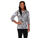 Liz Claiborne New York Floral Printed Boatneck T-Shirt - A228515