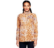Denim & Co. Long Sleeve Animal Print Fleece Jacket - A229315