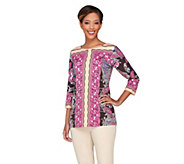 Bob Mackies 3/4 Sleeve Scoopneck Printed Knit Top - A234115