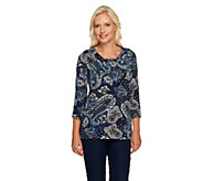 Susan Graver Liquid Knit 3/4 Sleeve Printed Top w/ Neck Gathers - A237115