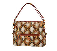 As Is Dooney & Bourke Python Embossed Leather East/ West Zip Sac - A237815