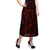 Susan Graver Printed Velvet Pull-on Long Skirt - A239215