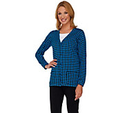 Joan Rivers Houndstooth Long Sleeve Boyfriend Cardigan - A251215