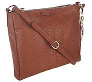 Isaac Mizrahi Live! Bridgehampton Leather Snake Double Zip Bag - A253915